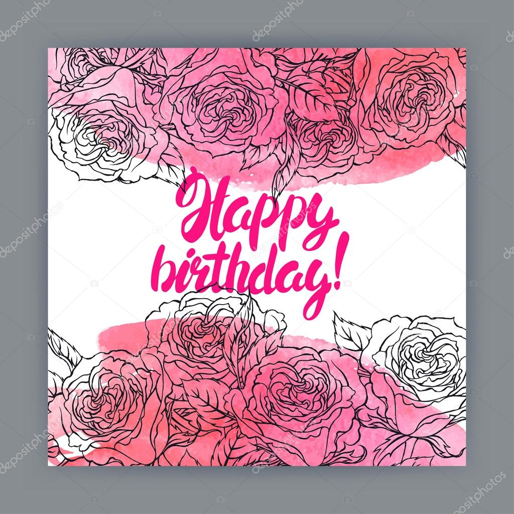 birthday card with roses