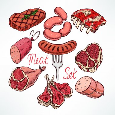 colorful set of meat products