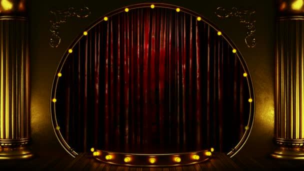 červený závěs fáze s zlaté pódium a smyčky světla