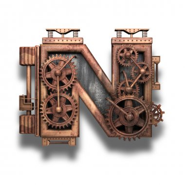 n rusted letter with gears on white