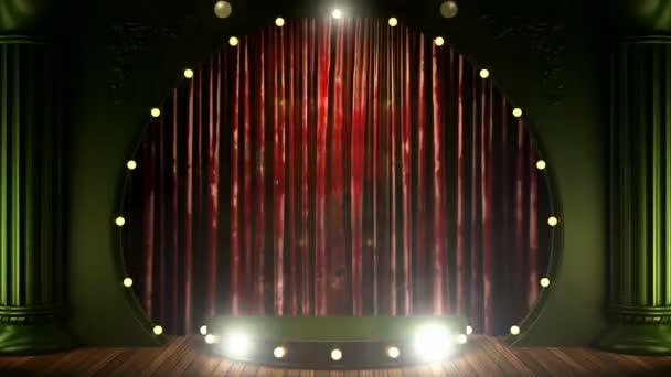 červený závěs jeviště s pódiem a smyčky světla