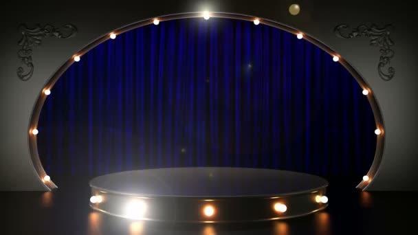 modrá opona jeviště s pódiem a smyčky světla