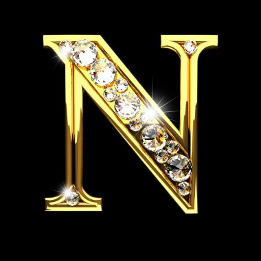 n isolated golden letters with diamonds on black