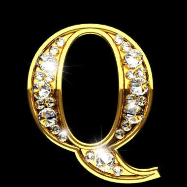 q isolated golden letters with diamonds on black