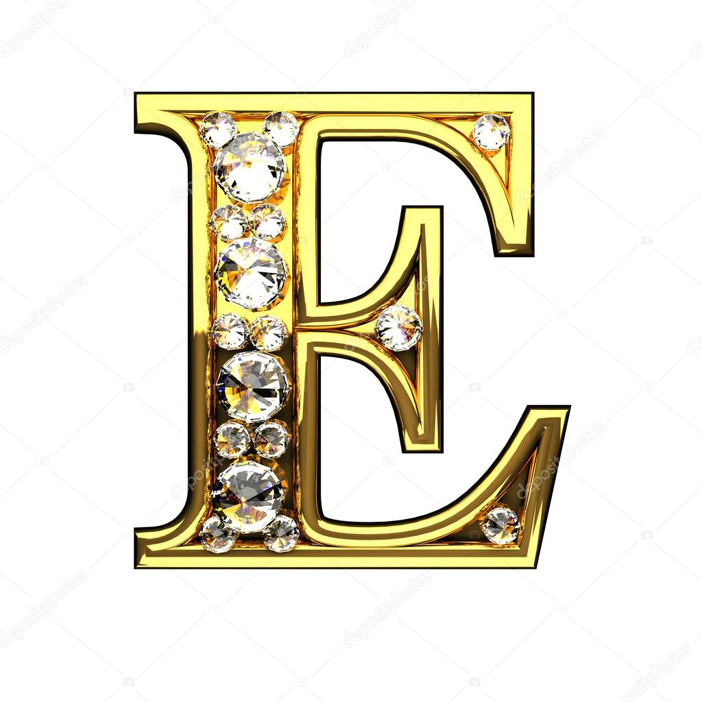 E isolated golden letters with diamonds on white stock photo