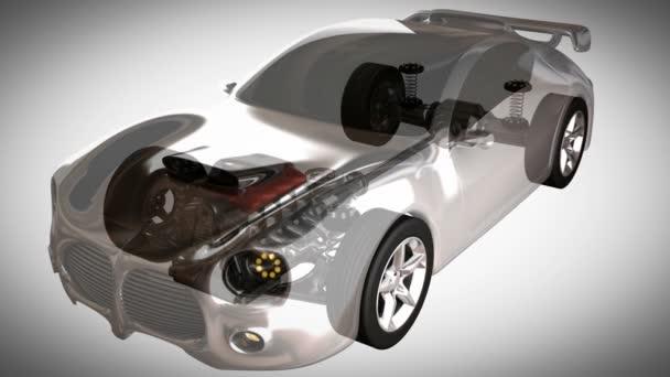 transparentní auto koncept s viditelným motor a převodovka