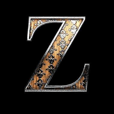z silver letter. 3D illustration