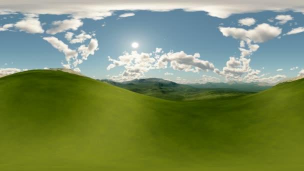 panorámás, zöld dombjai között fekvő timelapse. ne 360 fokos lencse fényképezőgép minden varrás nélkül készült. készen áll a 360 virtuális valóság