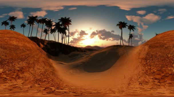 panorámás a pálmák a sivatagban, a naplemente. a egy 360 fokos lencse fényképezőgép minden varrás nélkül készült. készen áll a virtuális valóság