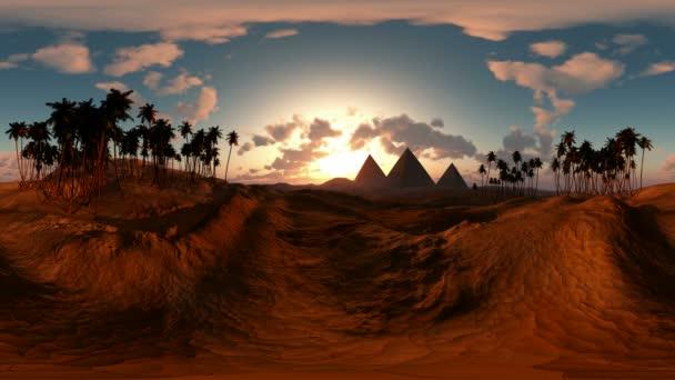 panorámás, egyiptomi piramis sivatagban a naplemente. a egy 360 fokos lencse fényképezőgép minden varrás nélkül készült. készen áll a virtuális valóság