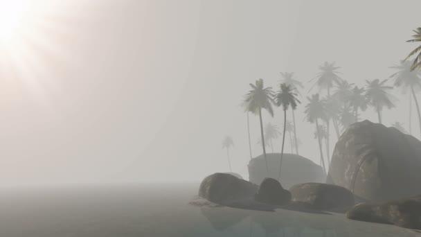 tropický ostrov s palem na písečné pláži v mlze