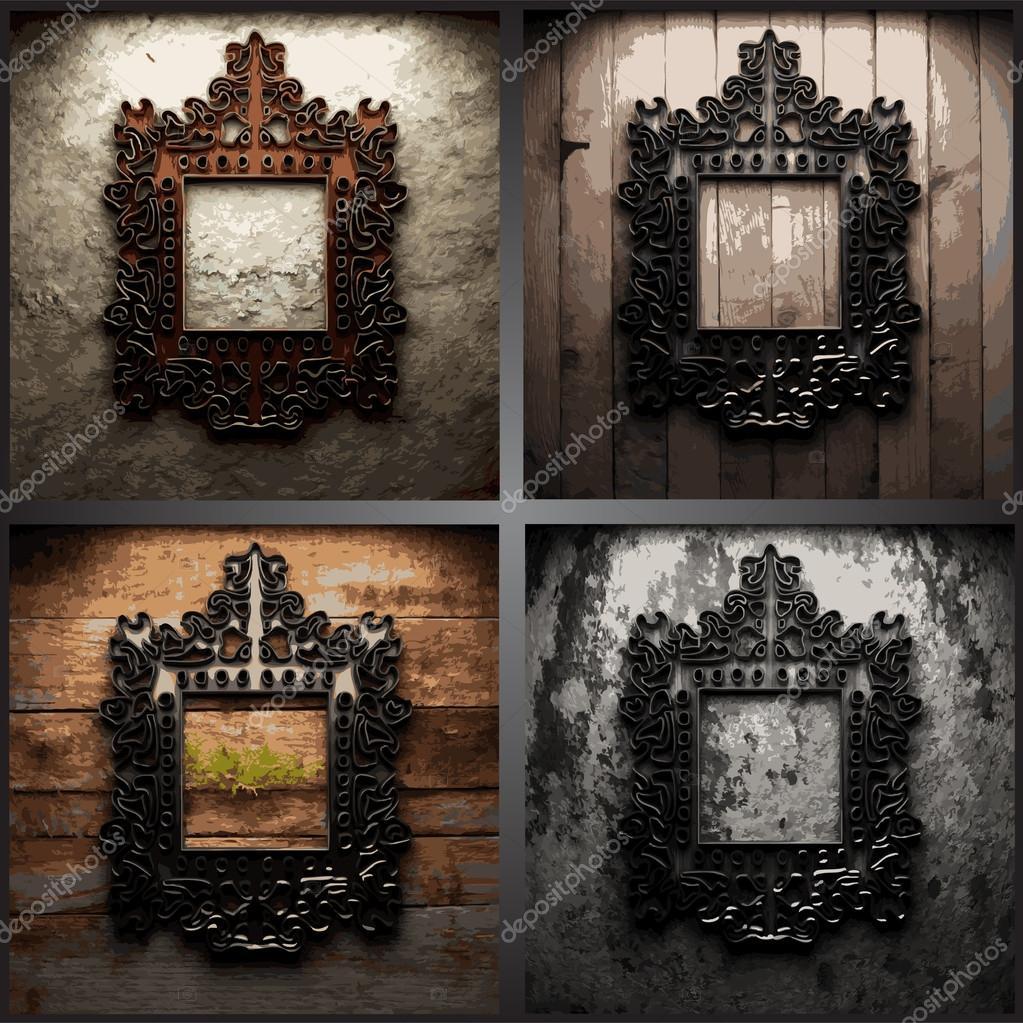 marco de metal de Vector retro en pared sucia — Archivo Imágenes ...