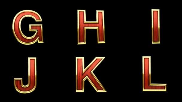 Loop alfa, matné červené dřevo abeceda se zlatem