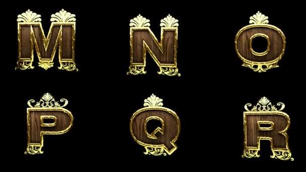 Loop alfa, matné zlaté abeceda s dřevem