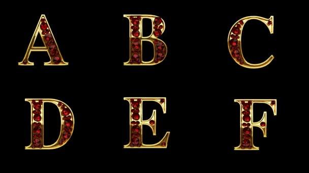 Loop alfa, matné zlaté abeceda