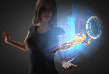 woman and hologram with MRI