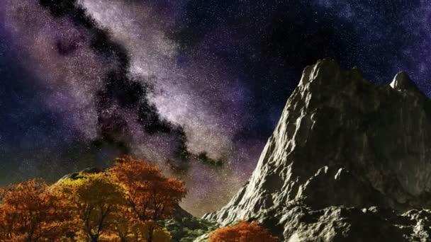 Čas zanikla fialová noční obloze hvězdy nad hory a stromy