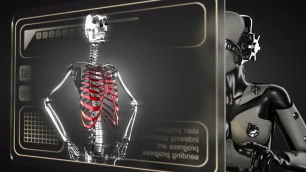 Robot woman manipulatihg hologram display