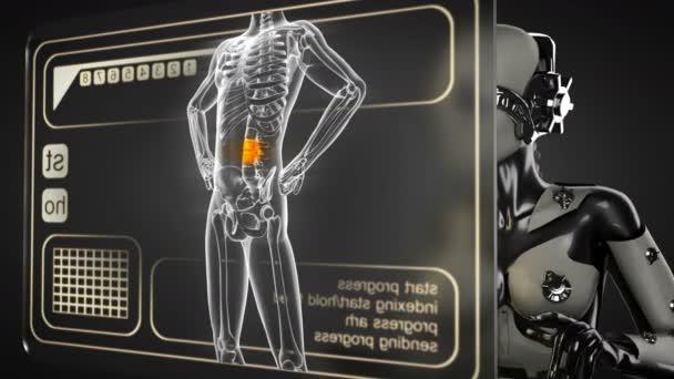 Robota žena manipulatihg hologram displej