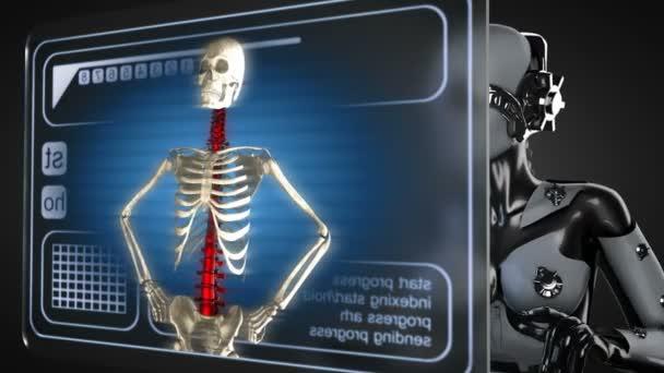 Robota žena manipulatihg hologram