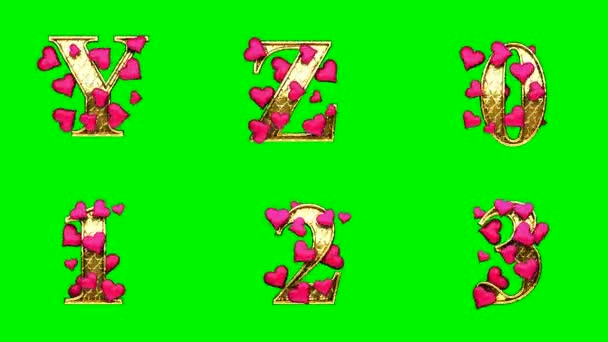 loop golden alphabet with hearts. chromakey