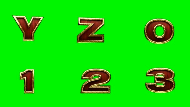 loop golden alphabet. chromakey