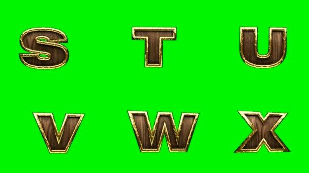 smyčka zlatý abeceda. Chromakey