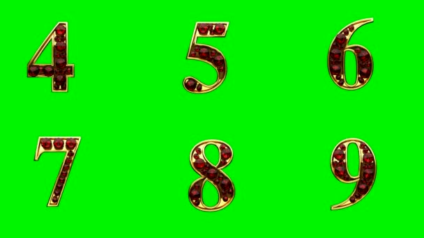 smyčka zlatý abeceda s rubíny