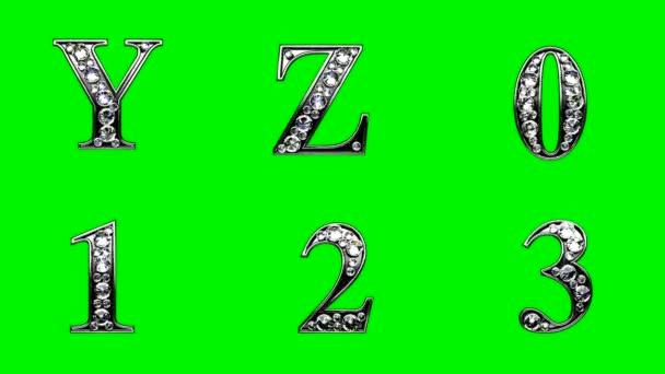 smyčky diamanty abeceda sada. zelený chromakey