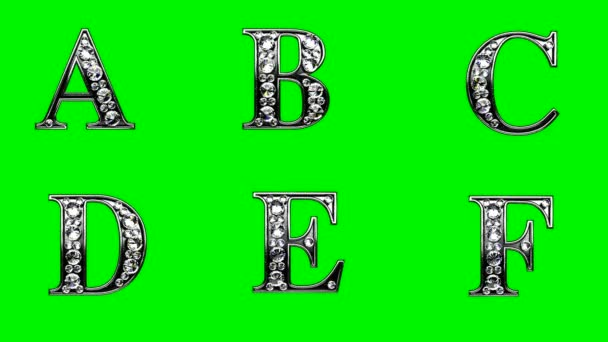 loop diamonds alphabet set. green chromakey