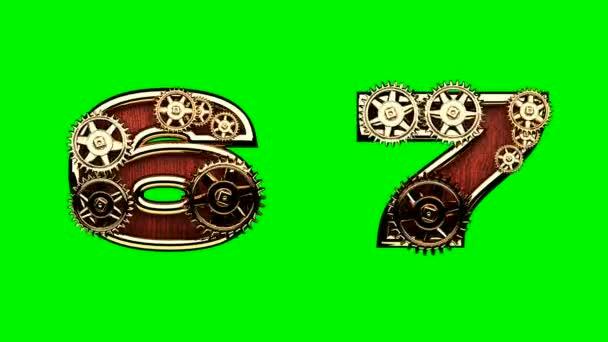 mechanické abeceda s otočit koly na zelené chromakey