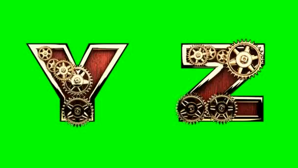 mechanical alphabet with rotate gears on green chromakey