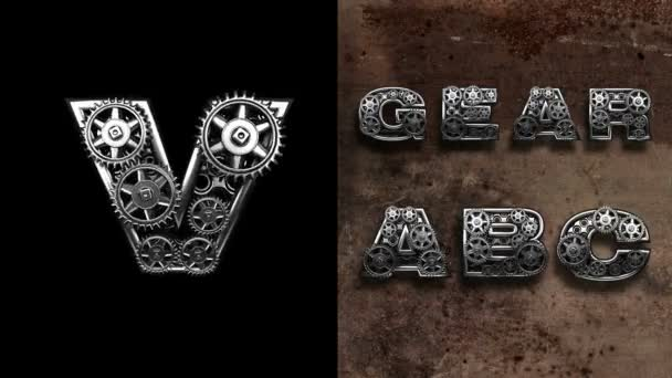 mechanical alphabet with rotate gears. Alpha Matted