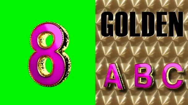 vykreslení na zelené chromakey smyčky zlaté a růžové abecedy