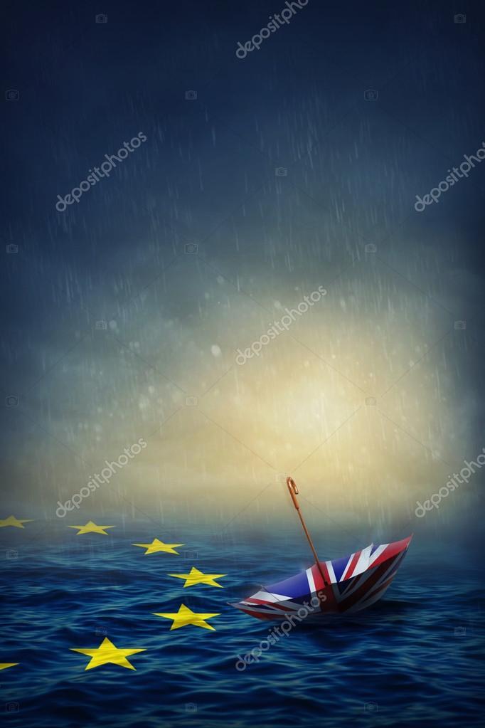 Фотообои Umbrella with the flag of the United Kingdom and sea with the flag European Union