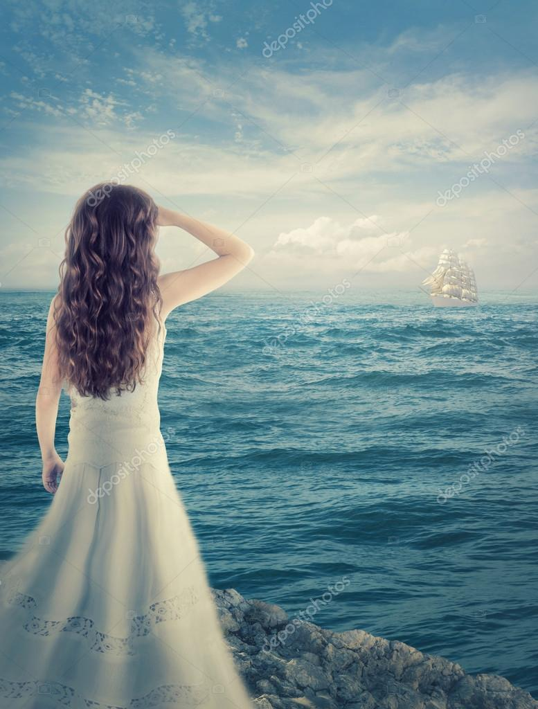 Girl waiting for a ship