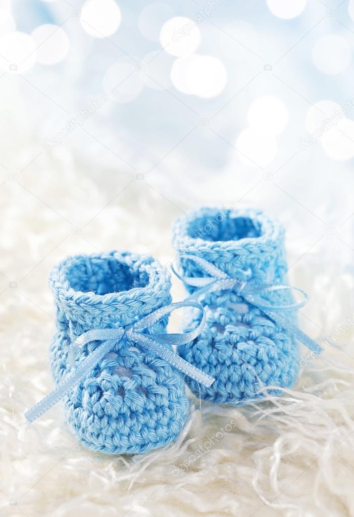 Blau Babyschuhe Häkeln Stockfoto Egal 123539812
