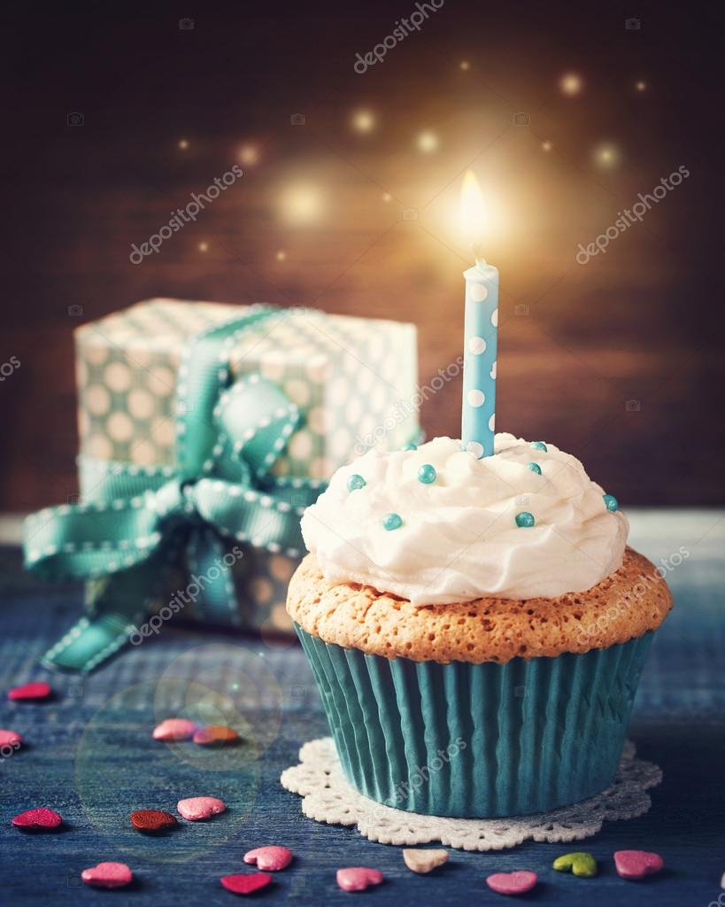 Cupcake With Birthday Candle Stock Photo Egal 124514942