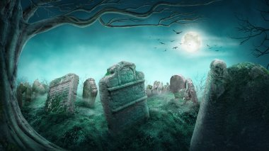 Spooky old graveyard at night stock vector