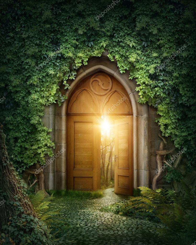 Mysterious entrance to new life or beginning stock vector