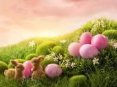 Fényképek Rózsaszín húsvéti tojás és a nyúl