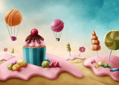 Fantasy candyland with cupcake and bonbons stock vector