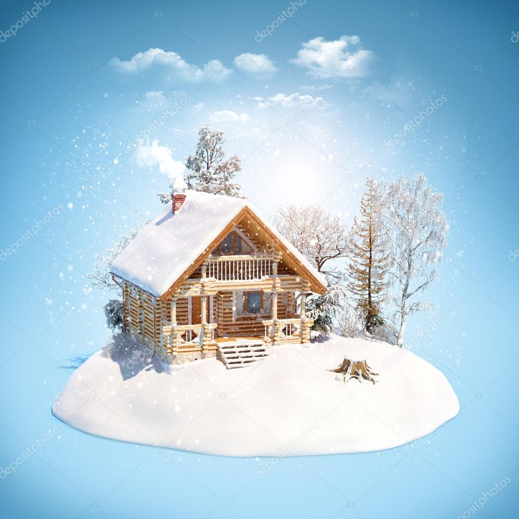 Log house on snowdrift