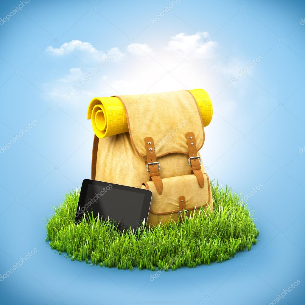 Backpack on grass