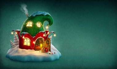 Amazing fairy house decorated at christmas in shape of elfs hat with opened door and fireplace inside. Unusual christmas illustration.
