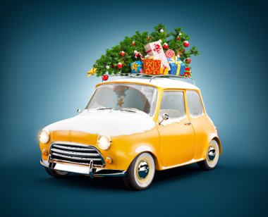 Retro car with gift boxes and christmas tree. Unusual christmas illustration