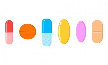 Different medicine tablets, pills, capsules icons isolated on white background. Medical and healthcare concept. Vector cartoon illustration. icon