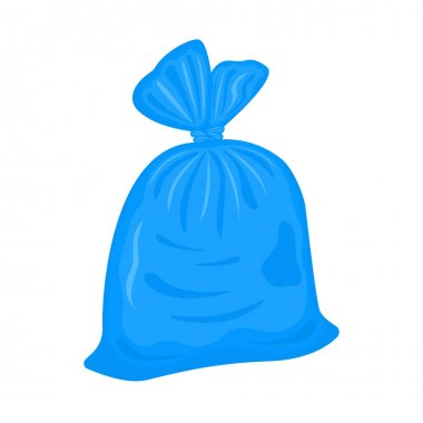 Filled plastic garbage bag isolated on white background. Blue pack with trash. Tied rubbish package. Vector cartoon illustration. icon