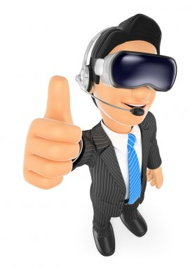 3D Businessman with virtual reality glasses. VR