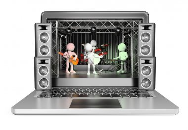 3D white people. Concert in a laptop. Video streaming concept
